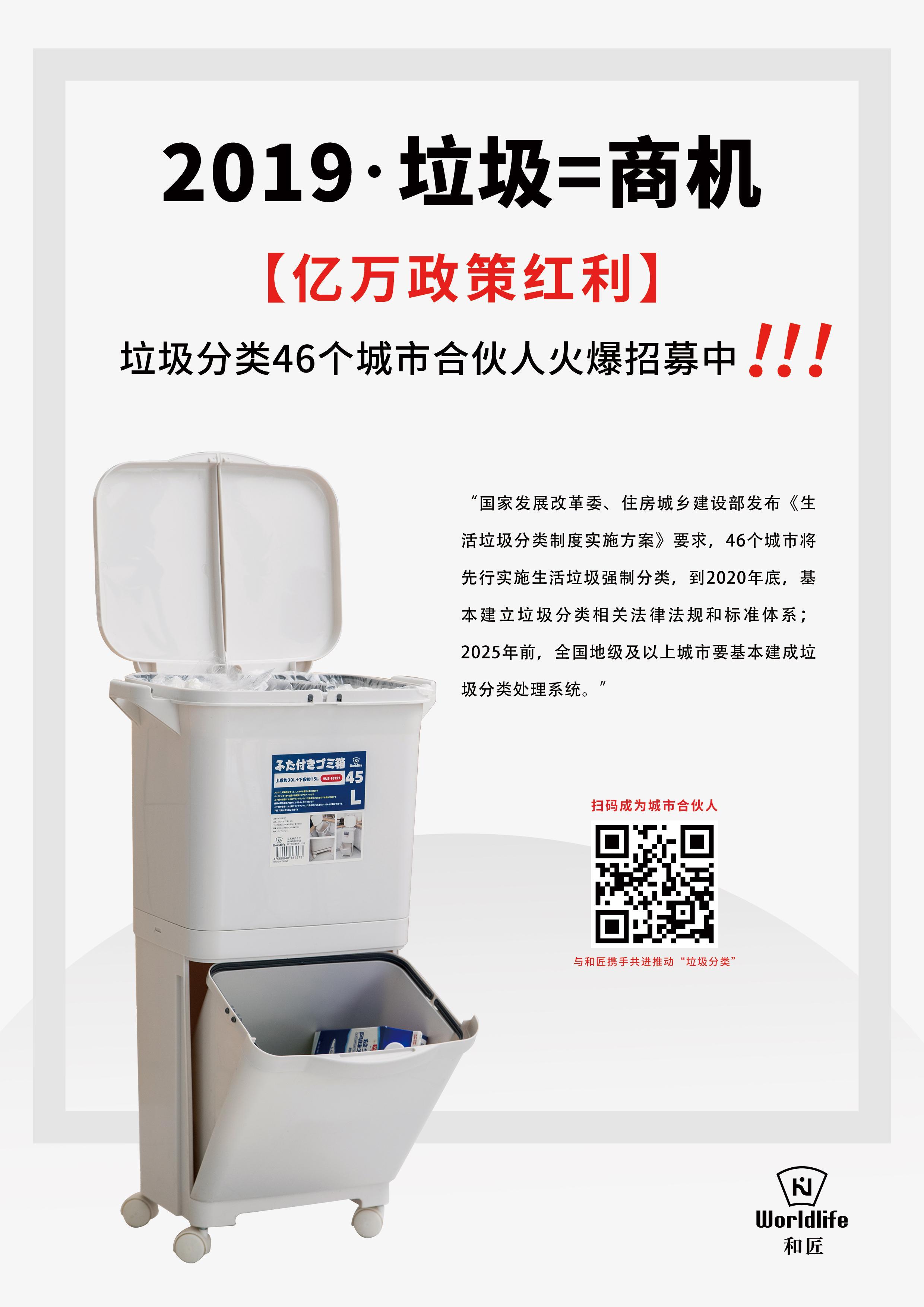 垃圾分类政策红利来袭,和匠Wordlife分类垃圾桶项目城市合伙人全国招募启动
